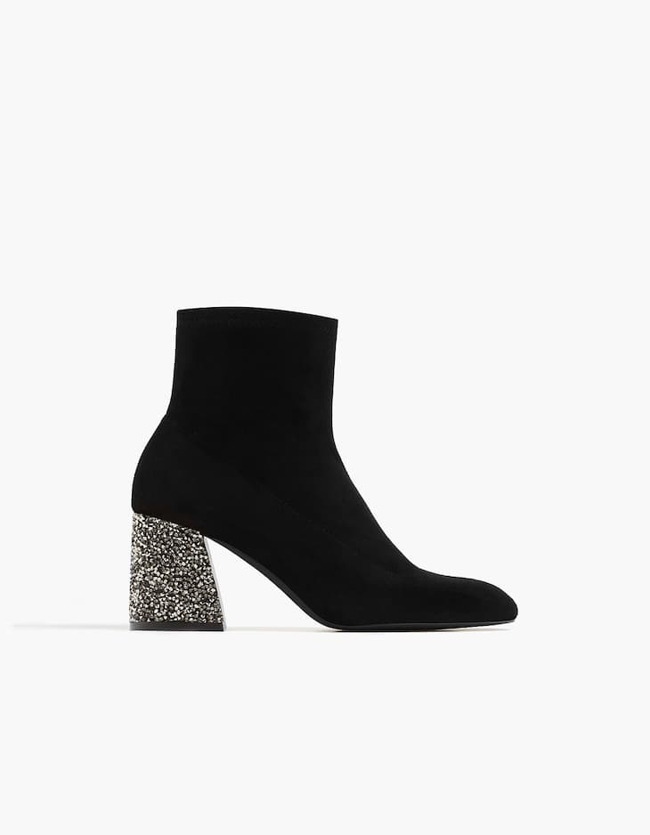 Bejewelled high heel ankle boots