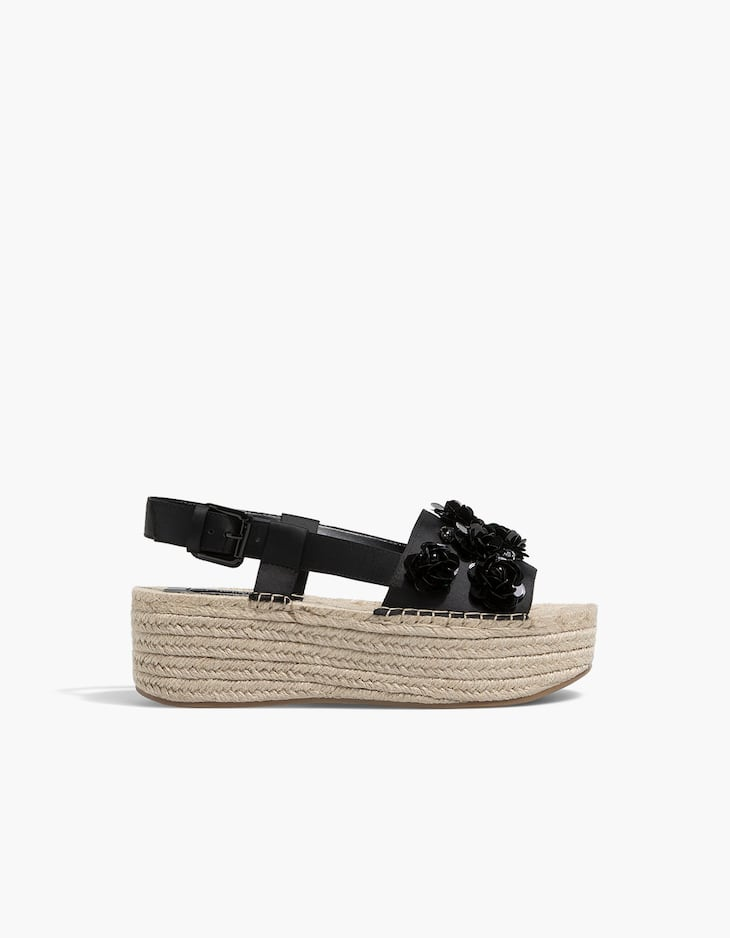 Black floral jute wedges