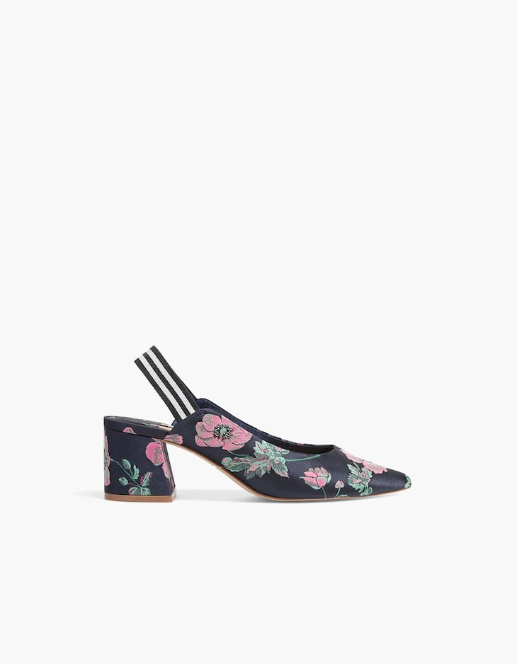 Printed mid-heel court shoes