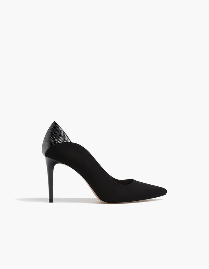 Black contrasting high heel court shoes