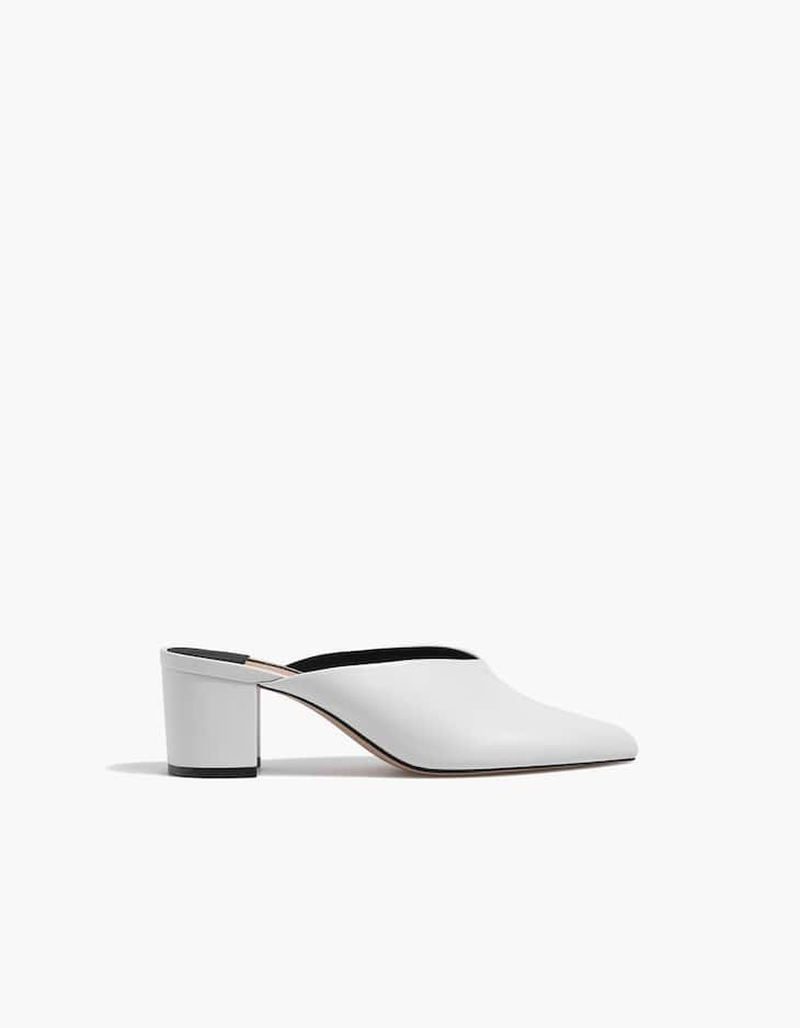 White high heel mules