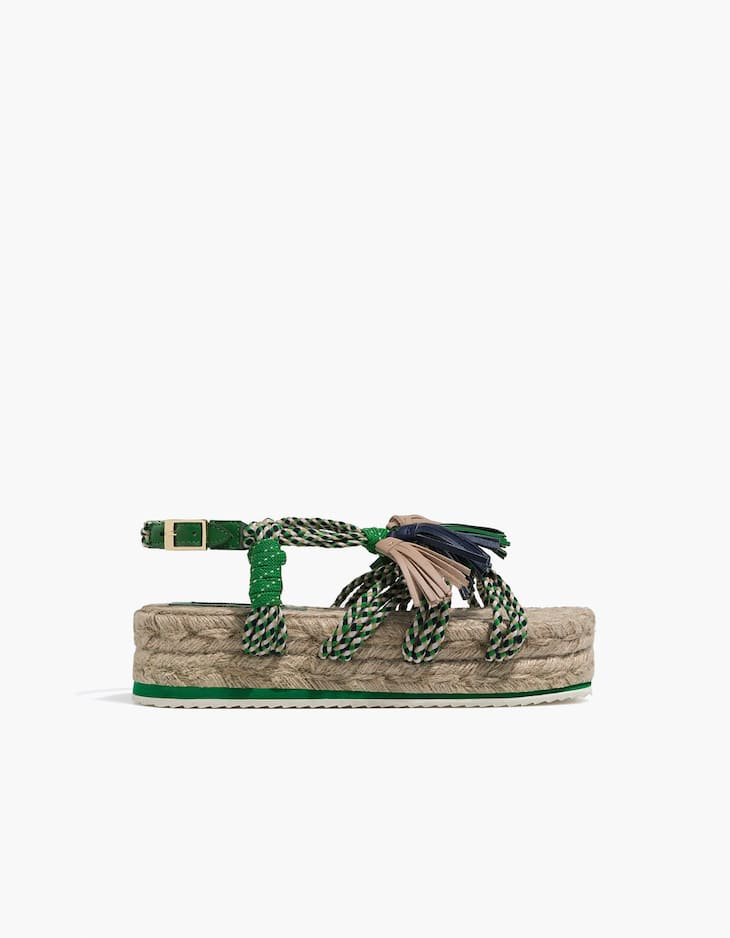 Flat jute sandals with rope straps