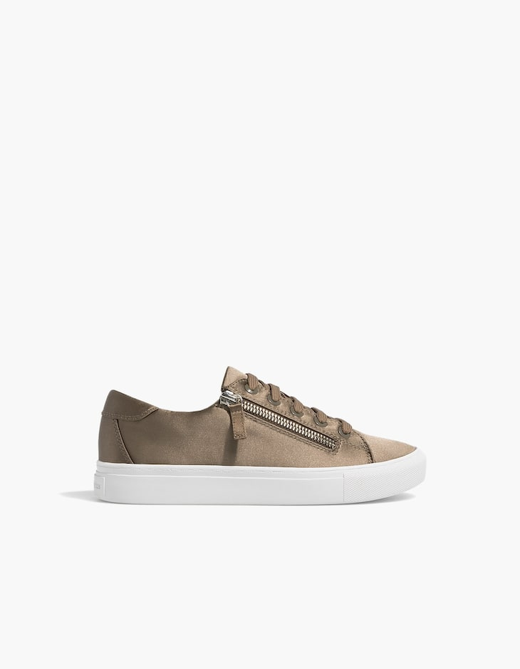 Khaki trainers with zips