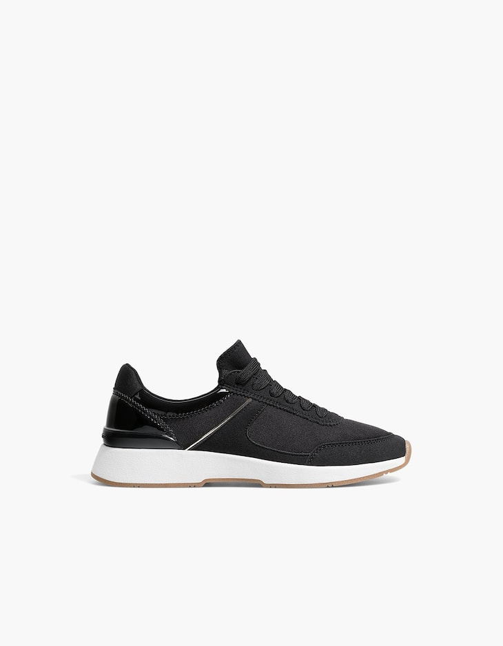 Pantofi sport negri din material textil combinați