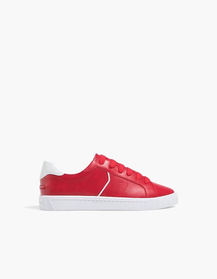 Zapatilla cordones roja