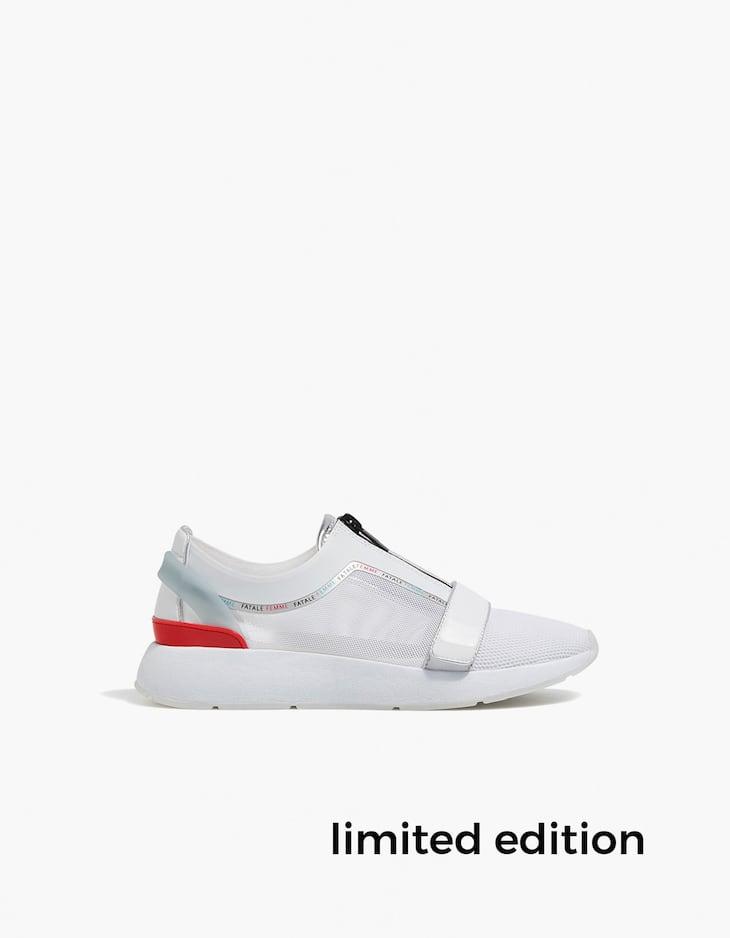 Sportowe buty z suwakiem z łączonych materiałów