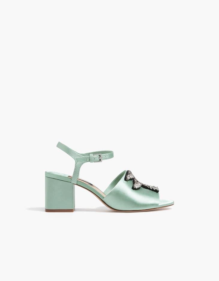 Sandale talon midi bijou