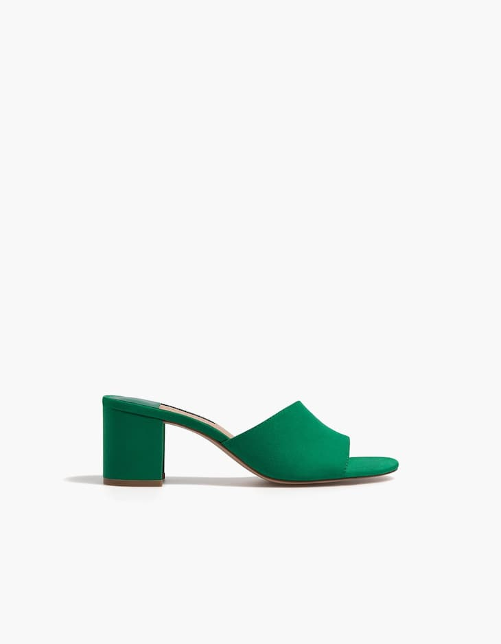 Green high-heel slides