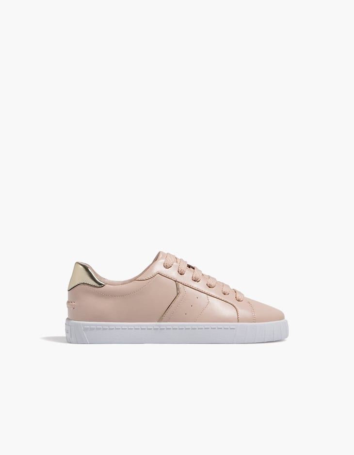 Nude lace-up plimsolls