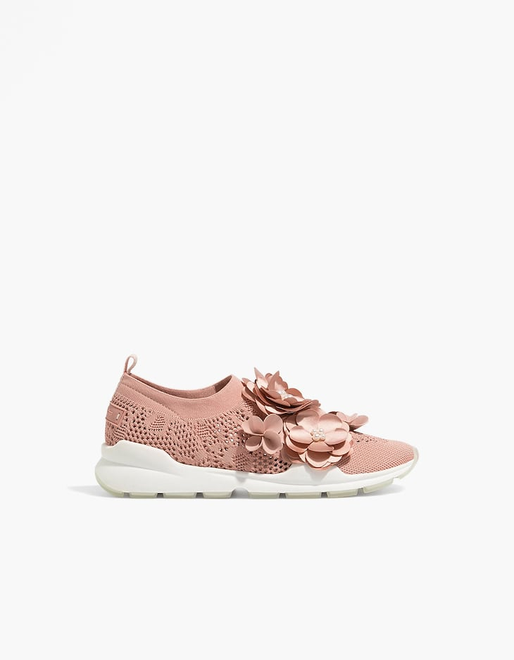 Openwork trainers with flower details