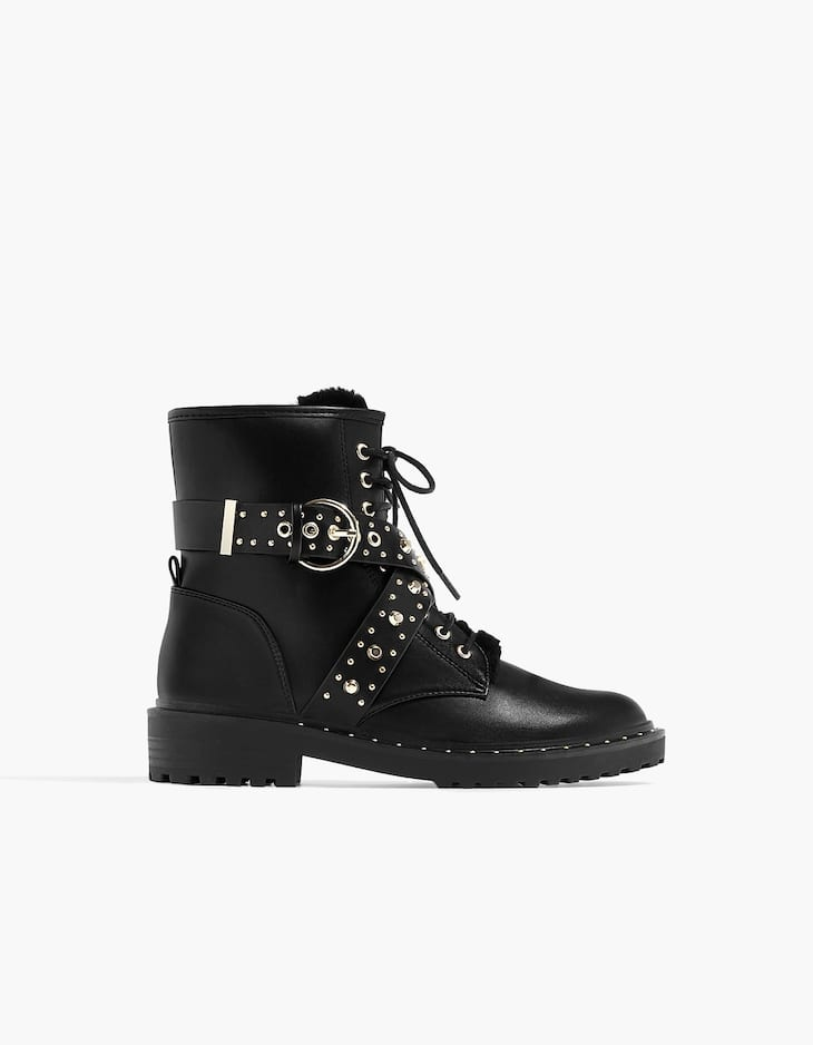 Studded lace-up ankle boots