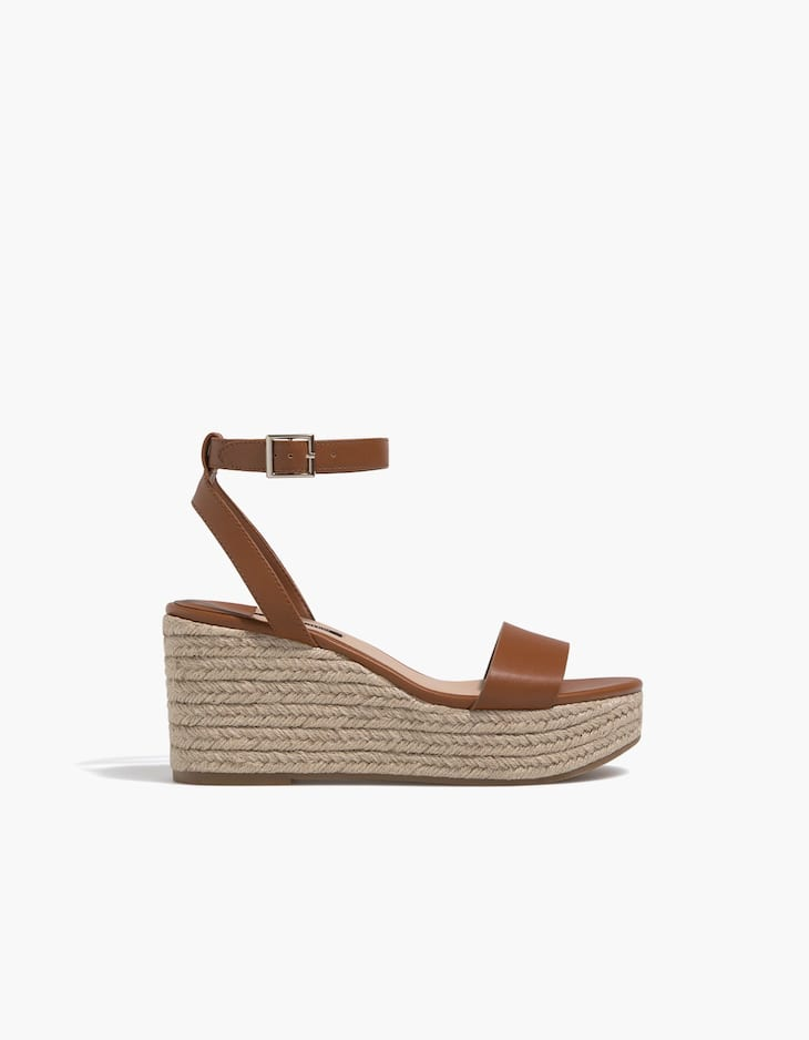 Brown jute wedges