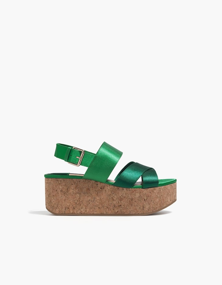 Green cork wedge sandals