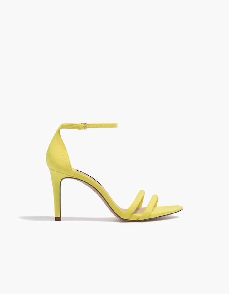 Yellow stiletto heel sandals