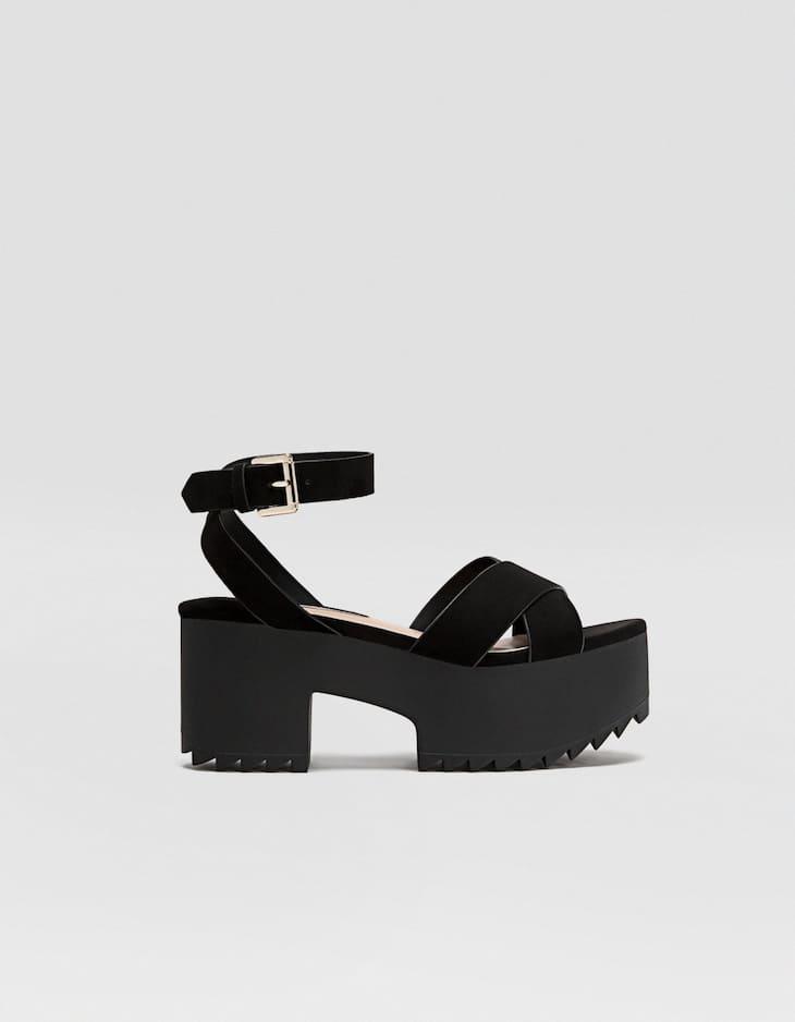 Black platform track sole sandals