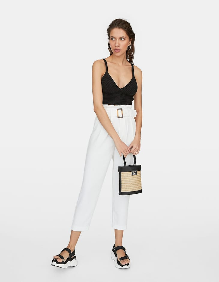 Paperbag trousers with tortoiseshell effect belt detail