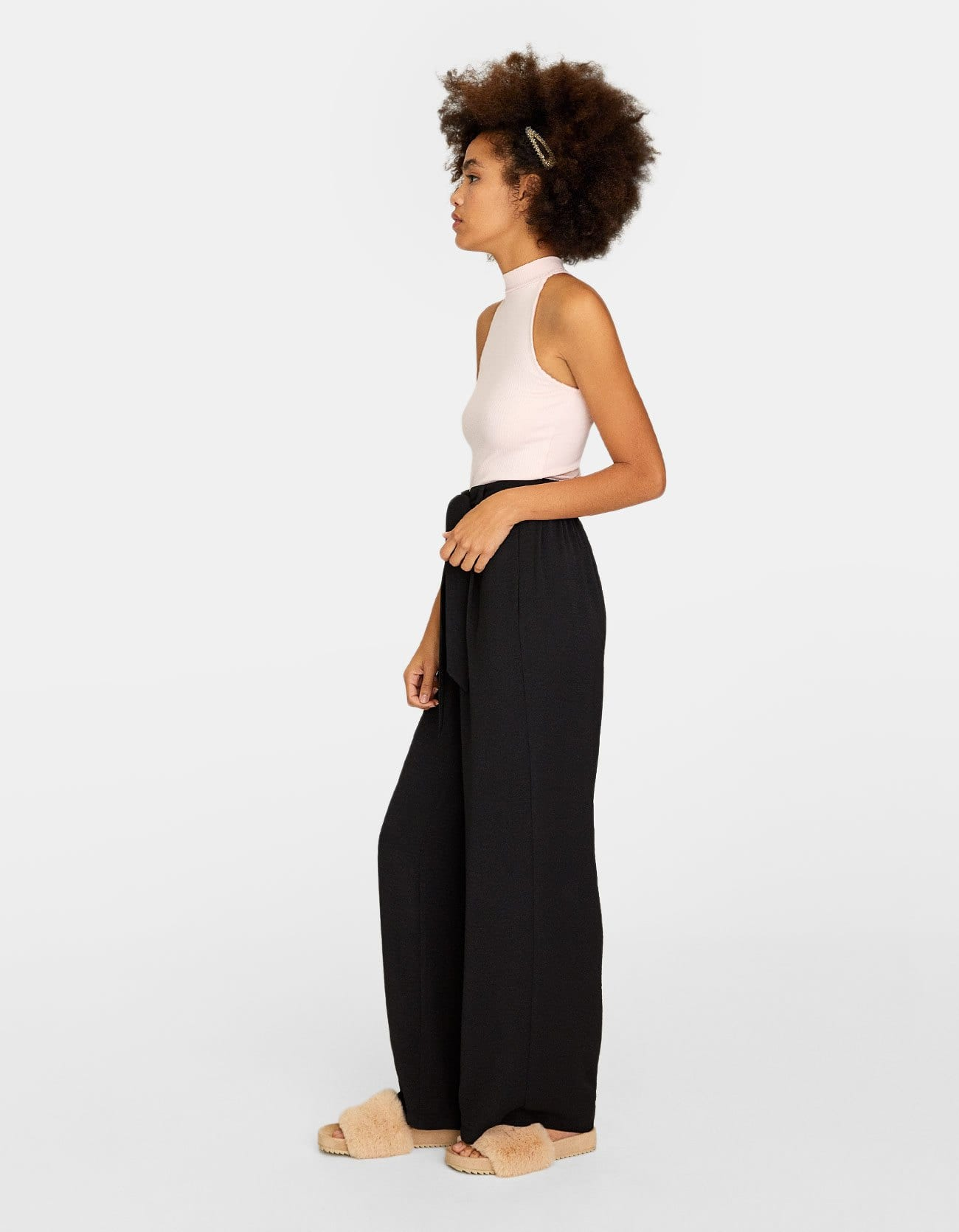 Modalite Net Stradivarius Palazzo Trousers With Buttons And Tie
