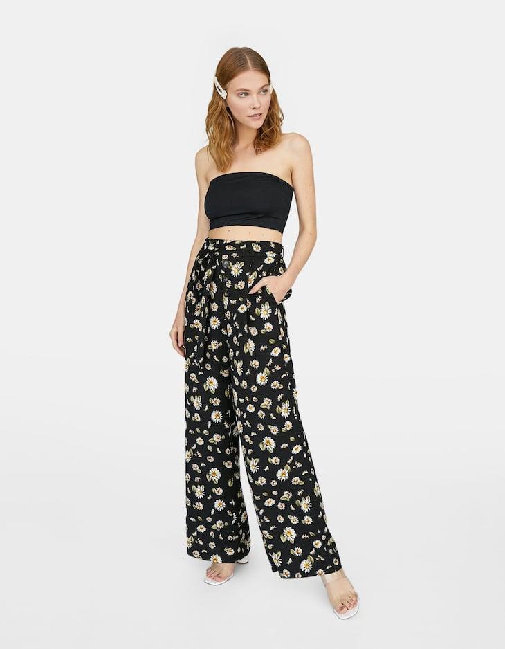 Pantalon taille haute fleurs