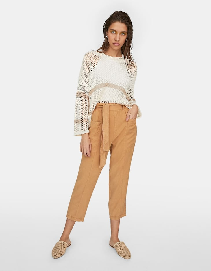 Synthetic rayon baggy trousers with pockets