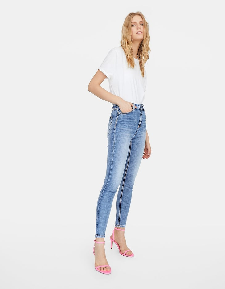 Super high waisted skinny jeans