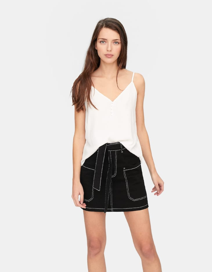 Camisole top with lined buttons