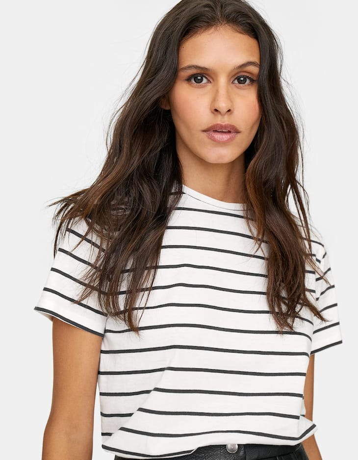 Basic striped T-shirt with short sleeves
