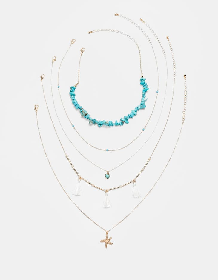 Set of 5 stone and tassel necklaces
