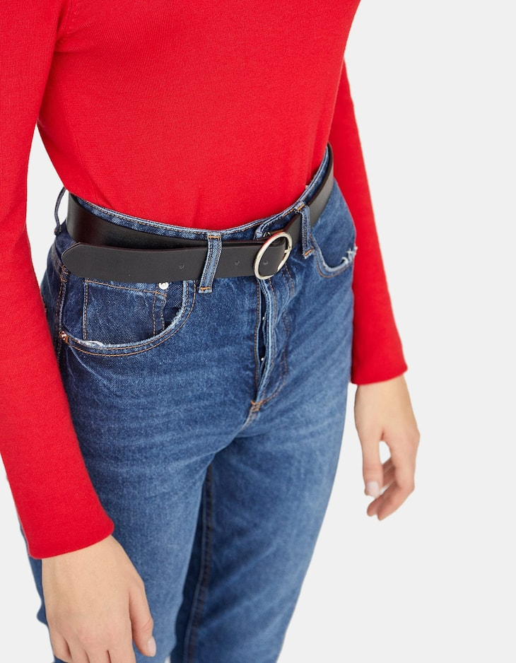 Cinturón básico hebilla redonda