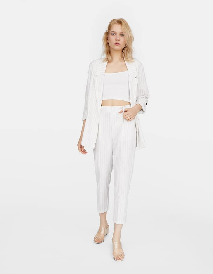 Striped slim fit tailored trousers