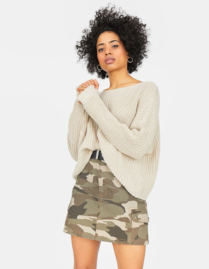 Open neck chunky knit sweater