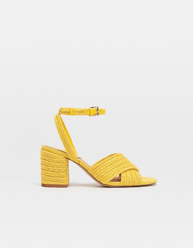 Yellow raffia high-heel sandals