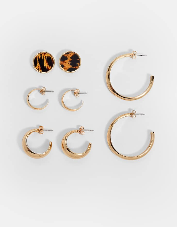 Set of 3 hoop and 1 leopard print earrings