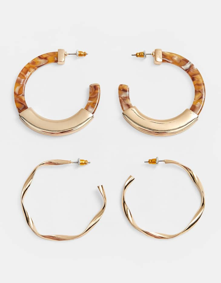 Set of two pairs of resin and metal hoops