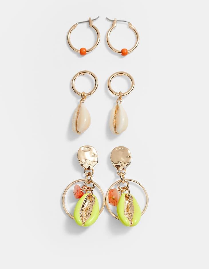 Set di tre orecchini variegati con conchiglie