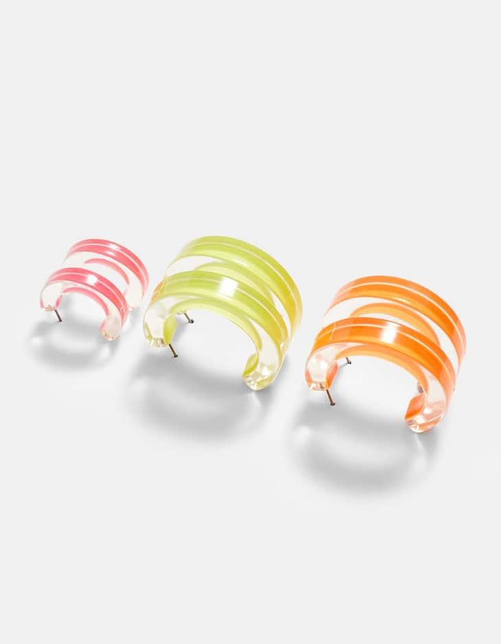 Set di 3 orecchini a cerchio in resina