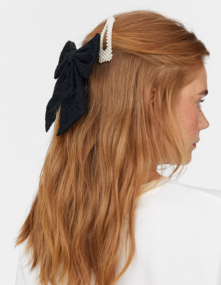 Swiss embroidery hair bow