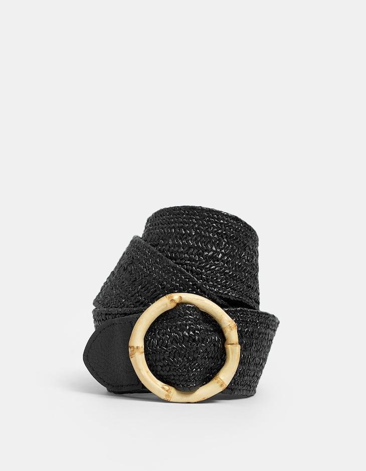 Bamboo-effect raffia belt with buckle