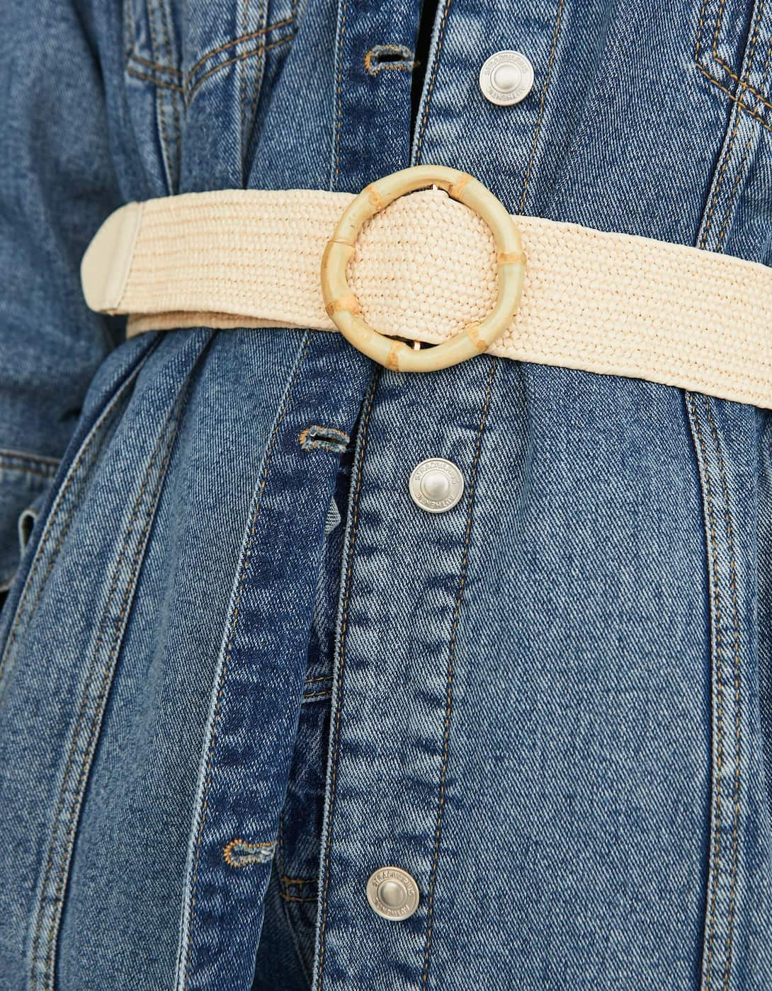 Bamboo Effect Raffia Belt With Buckle by Stradivarius