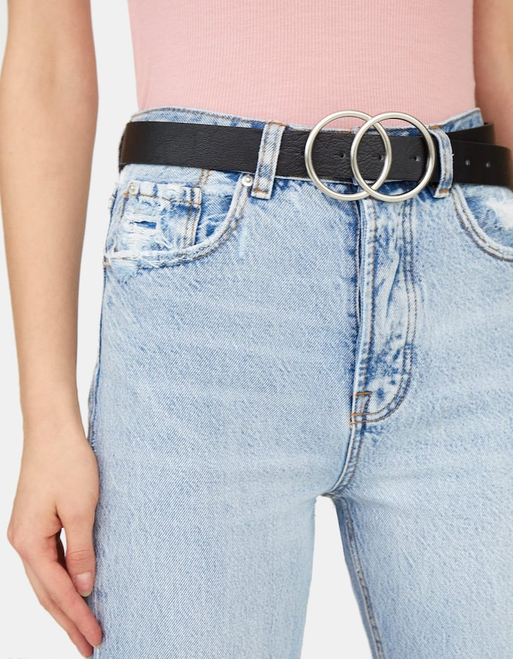 Double ring round buckle belt