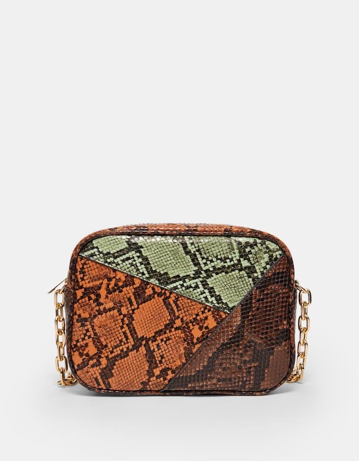 Schoudertas met slangenprint en patchwork