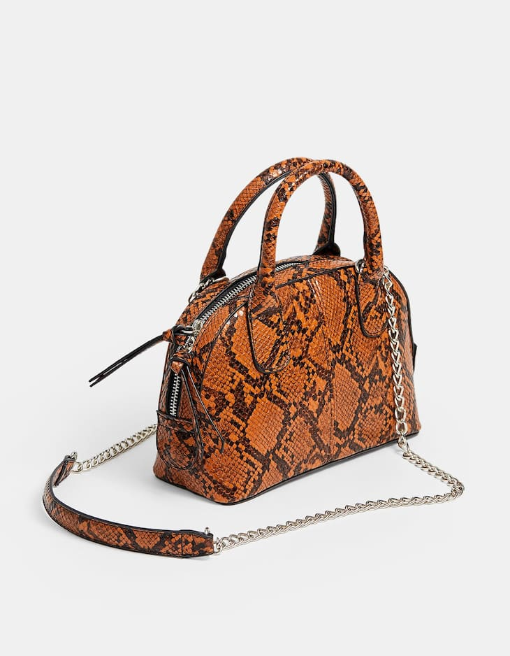 Mini snakeskin print crossbody bag