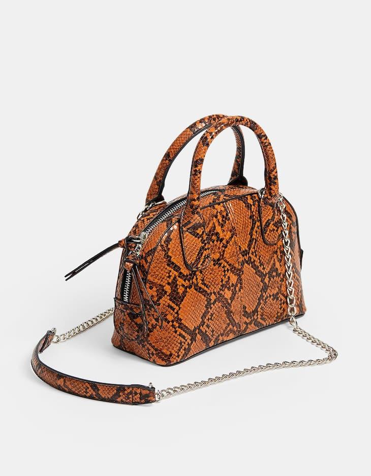 Μίνι τσάντα χιαστί με τύπωμα φιδιού