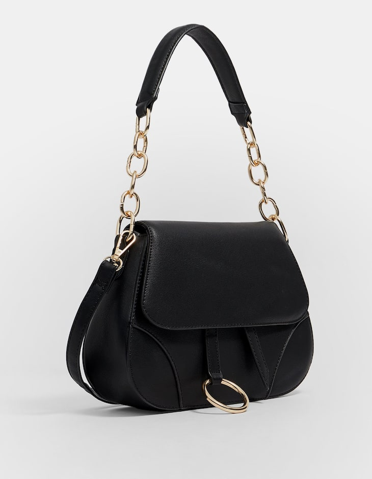 Crossbody bag with gold ring