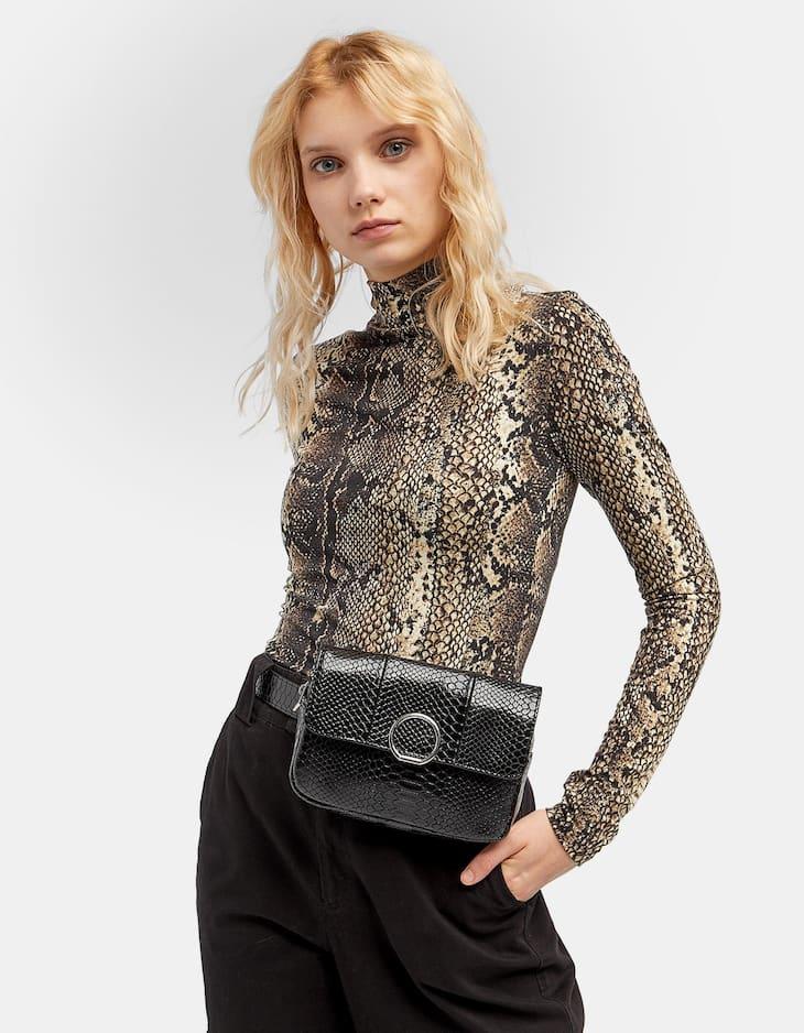 Snakeskin crossbody belt bag