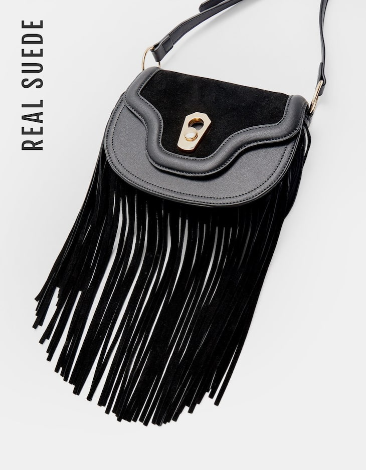 Crossbody bag with leather fringe