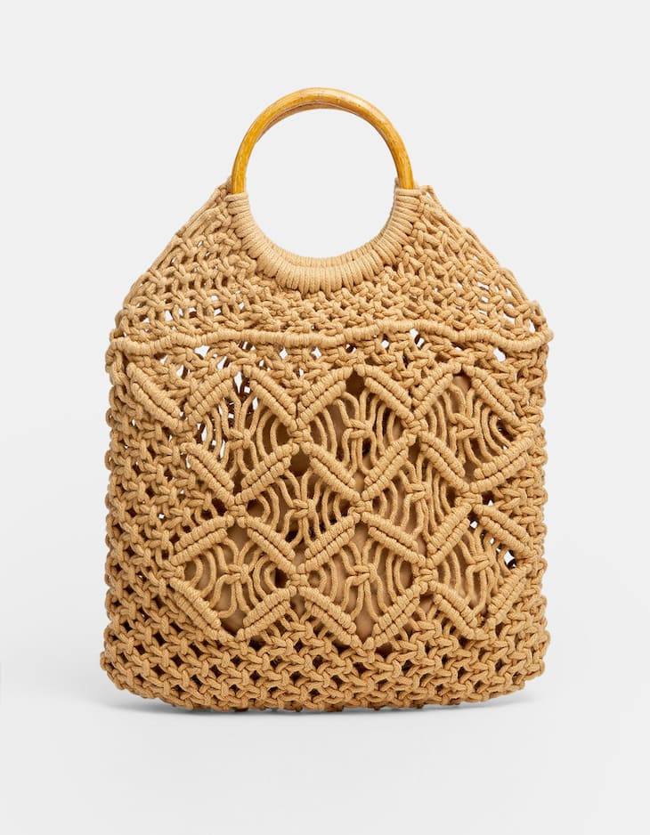Plaited tote bag with wood-effect handle