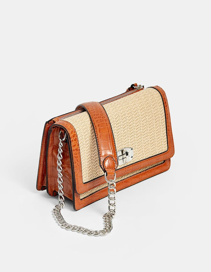 Raffia-effect crossbody bag