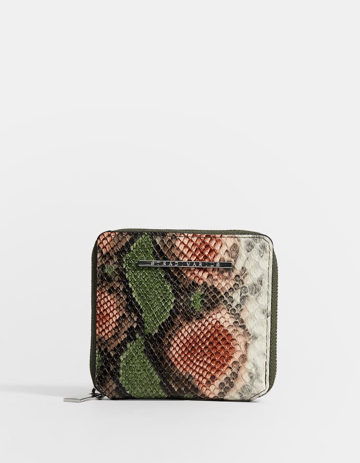 Square snakekin print purse