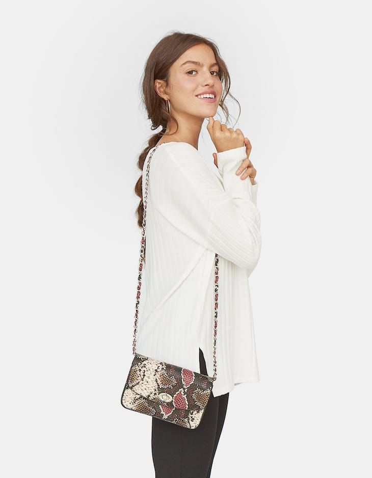 Mini snakeskin print crossbody bag with chain