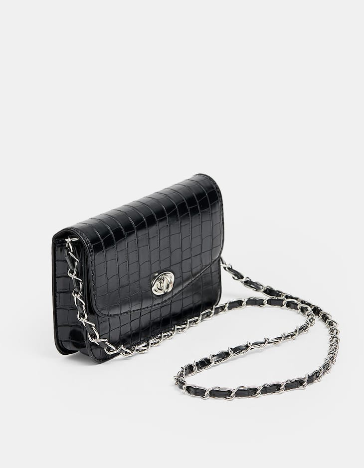 Mini mock croc crossbody bag with chain strap